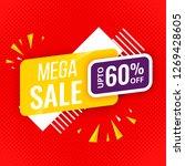 mega sale banner red template | Shutterstock .eps vector #1269428605