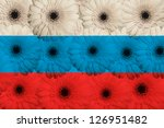 stylized national flag of russia with gerbera daisy flowers as concept and symbol of love, beauty, innocence, and positive emotions - stock photo