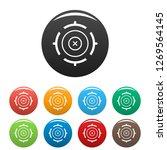 futuristic aim target icons set ...