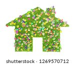eco house concept made of grass ... | Shutterstock . vector #1269570712