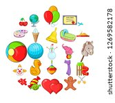 little ones icons set. cartoon... | Shutterstock . vector #1269582178