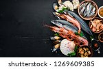 seafood. fresh fish  shrimp ... | Shutterstock . vector #1269609385