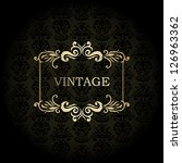 vintage frame on damask black... | Shutterstock .eps vector #126963362