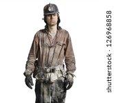 Mine Worker With Flashlight...