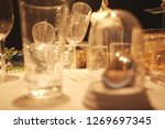 blur many empty glasses on the... | Shutterstock . vector #1269697345