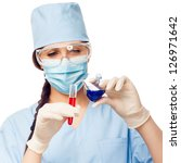 woman chemist with colored...   Shutterstock . vector #126971642