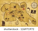 old pirate map of treasure... | Shutterstock .eps vector #126971972