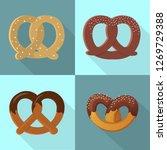 pretzel icon set. flat set of...   Shutterstock . vector #1269729388