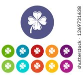 four leaf clover icons color...