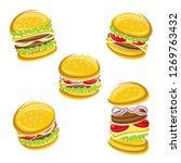 hamburger set. vector | Shutterstock .eps vector #1269763432