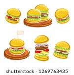 hamburger set. vector | Shutterstock .eps vector #1269763435