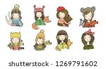 different faces. girls in... | Shutterstock .eps vector #1269791602