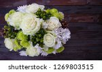 white roses bouquet is... | Shutterstock . vector #1269803515