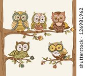 set of cute hand drawn owls.... | Shutterstock .eps vector #126981962