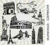 sketches of famous places | Shutterstock .eps vector #126984245
