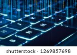 backlit keyboard  with piece of ... | Shutterstock . vector #1269857698