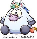 fat cartoon unicorn sitting... | Shutterstock .eps vector #1269874198