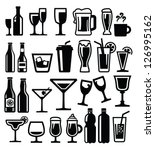 vector black beverages icon set ... | Shutterstock .eps vector #126995162