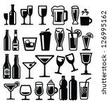vector black beverages icon set ... | Shutterstock .eps vector #126995162