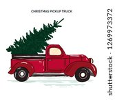pickup truck with christmas tree | Shutterstock .eps vector #1269973372