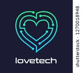 heart vector technology logo.... | Shutterstock .eps vector #1270018948