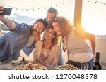 souvenir photo with friends ... | Shutterstock . vector #1270048378