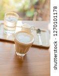 capucino coffee in glass on... | Shutterstock . vector #1270101178