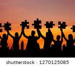 teamwork concept  silhouette... | Shutterstock . vector #1270125085