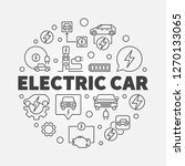 electric car round vector... | Shutterstock .eps vector #1270133065