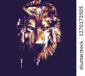 wolf head pop art illustration | Shutterstock .eps vector #1270173505