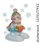 snowman with heart | Shutterstock . vector #1270177912