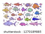 hand drawn fish collection.... | Shutterstock .eps vector #1270189885
