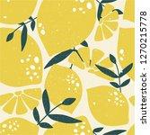 fresh lemons  leaves background.... | Shutterstock .eps vector #1270215778