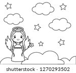 coloring page with cute angel... | Shutterstock .eps vector #1270293502