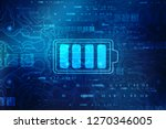 Stock photo battery icon in digital background battery supply concept background energy efficiency concept 1270346005