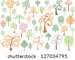 set of stylized trees for... | Shutterstock .eps vector #127034795