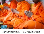 Closeup Of Monk\'s Hand With Pray