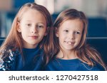 little kids together in airport ... | Shutterstock . vector #1270427518