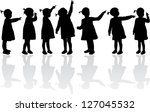 group of children's silhouettes   Shutterstock .eps vector #127045532