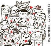 doodling kawaii hand drawn... | Shutterstock .eps vector #1270488568
