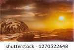 3D rendering of strange ancient moment relics in an alien planet environment with sunset sky in background - concept art created from scratch without using reference image
