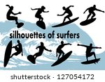 silhouettes of surfers | Shutterstock .eps vector #127054172