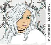 portrait of snow girl  | Shutterstock .eps vector #1270548982