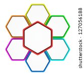 group of six hexagons with copy ...   Shutterstock . vector #127056188