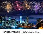 fireworks over new york city... | Shutterstock . vector #1270622212