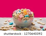 Stock photo marshmallow cereal in a clear bowl with milk 1270640392