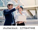 beautiful woman working as... | Shutterstock . vector #1270647448