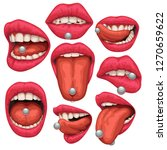 mouth with pircing set | Shutterstock .eps vector #1270659622