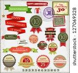 retro style anniversary sign... | Shutterstock .eps vector #127069328