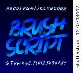 brush script alphabet font.... | Shutterstock .eps vector #1270713442